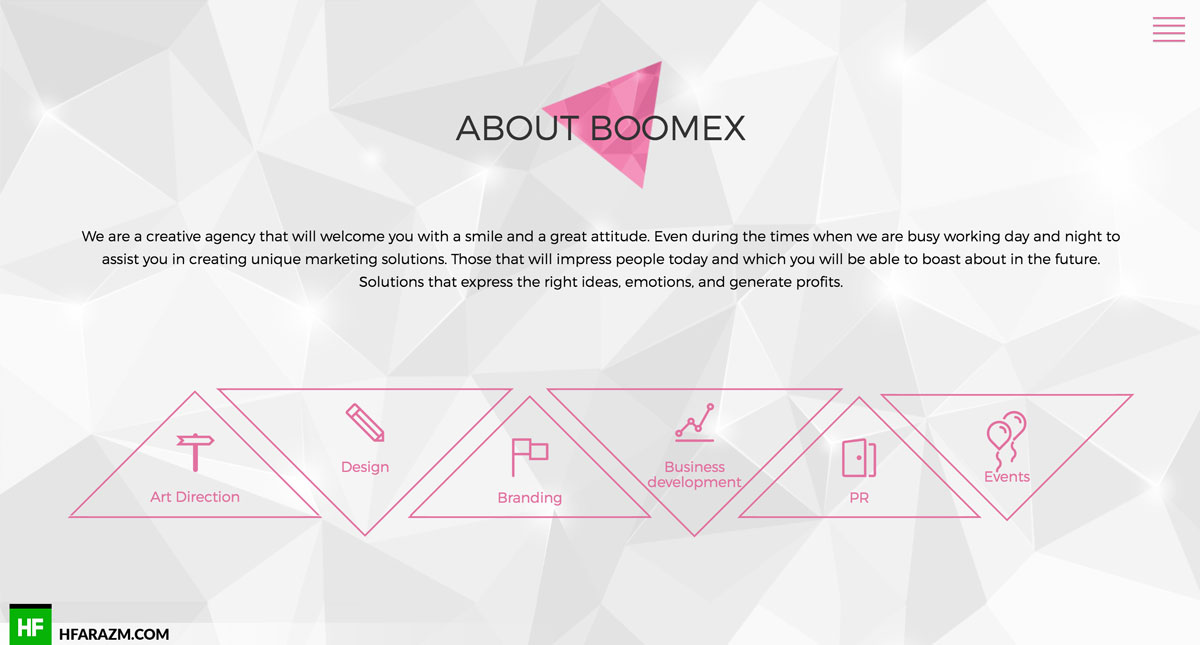 boomex agency about web design development branding portfolio hfarazm
