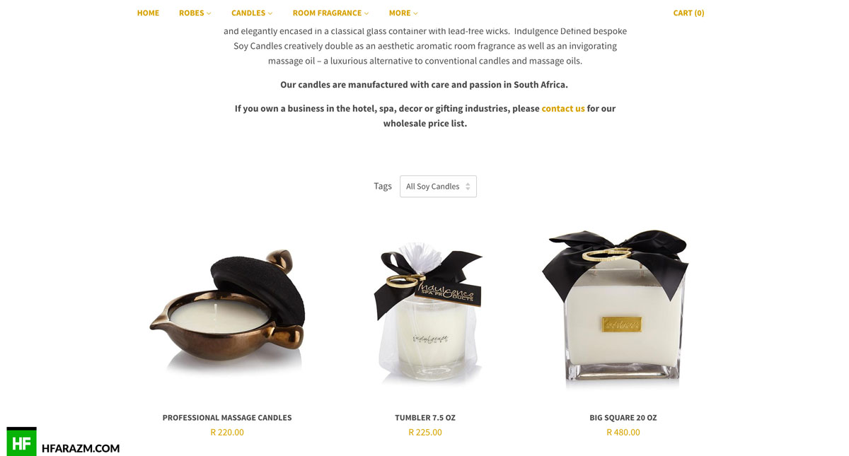 indulgence spa product details web development seo portfolio hfarazm