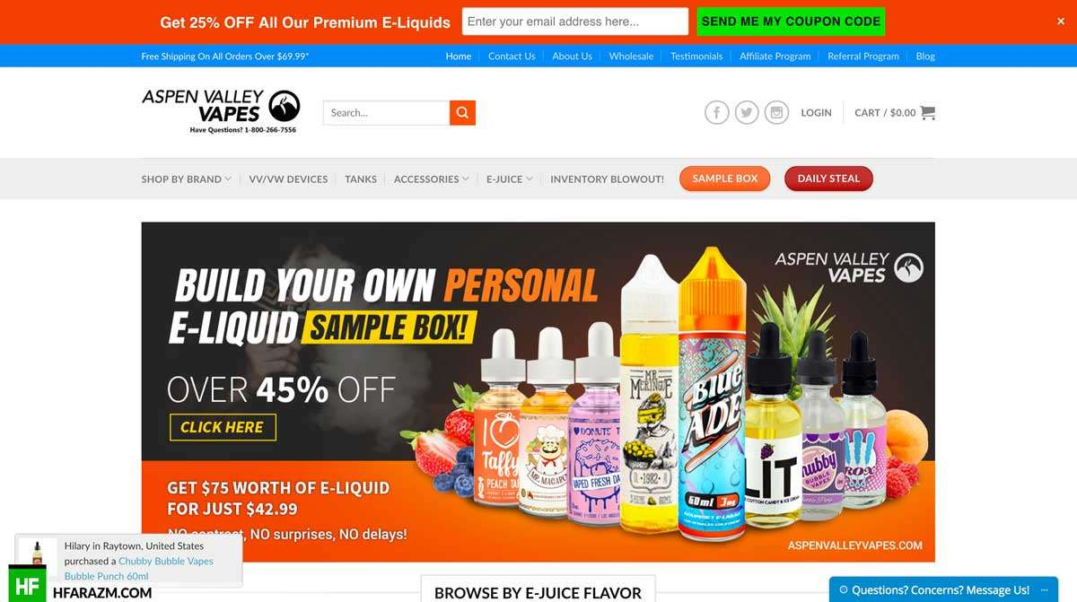 aspen-valley-vapes-home-page-web-design-development-seo-optimization-security-portfolio-hfarazm