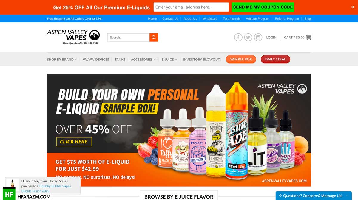 Aspen Valley Vapes Home Page Web Design Development
