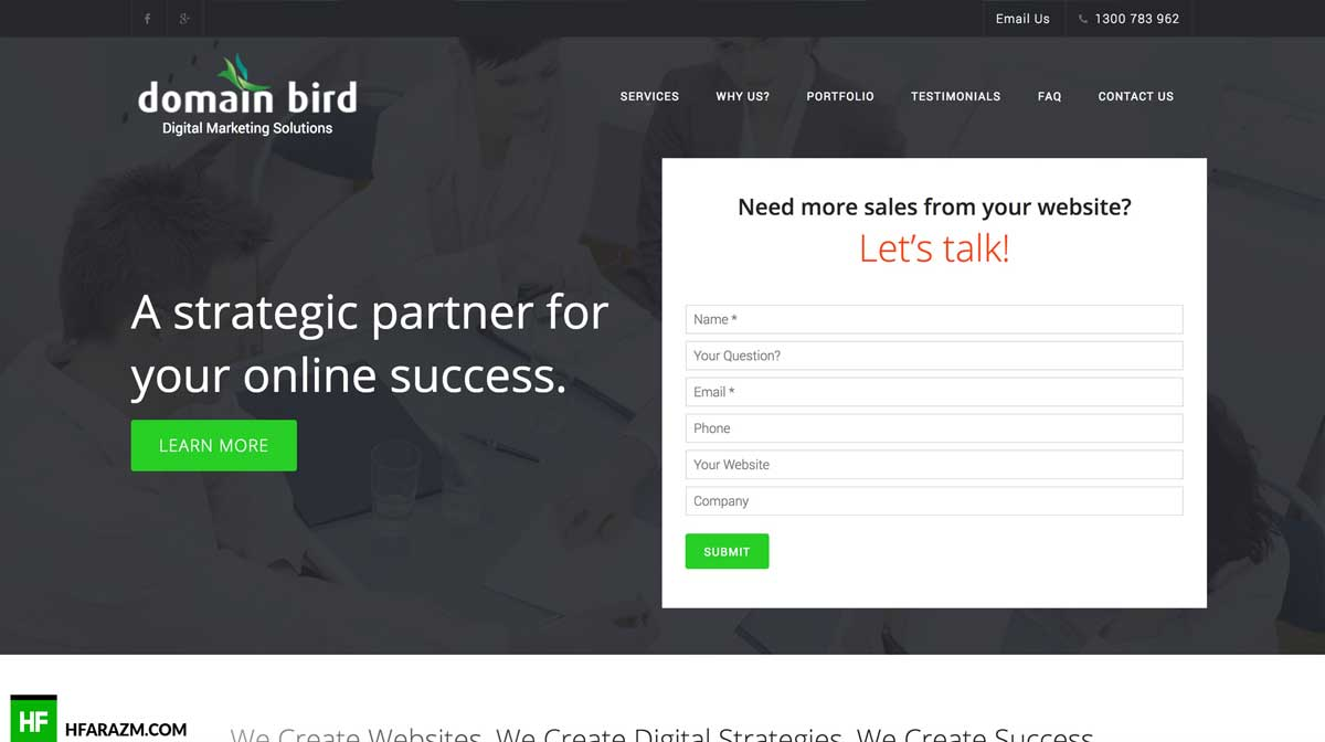 domain-bird-home-page-web-optimization-website-review-portfolio-hfarazm