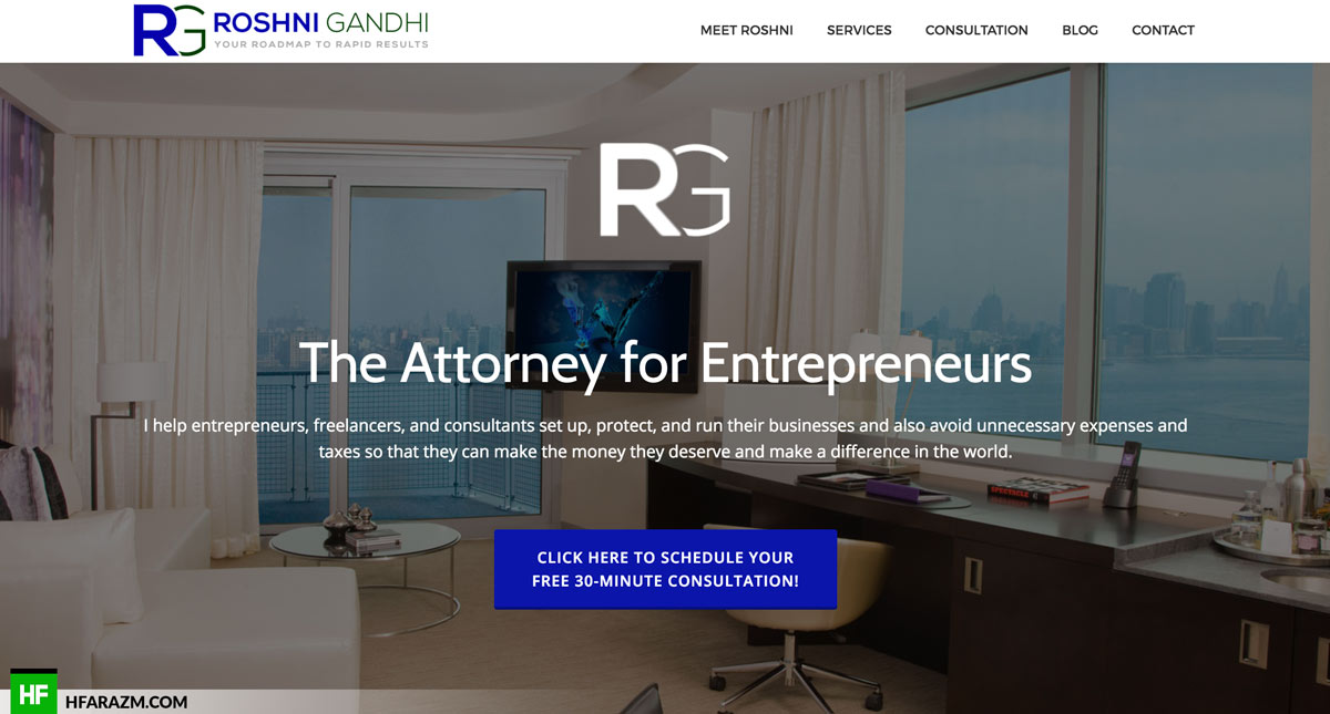 Web Design Portfolio - Roshni Gandhi Attorney in CA | Hfarazm Software