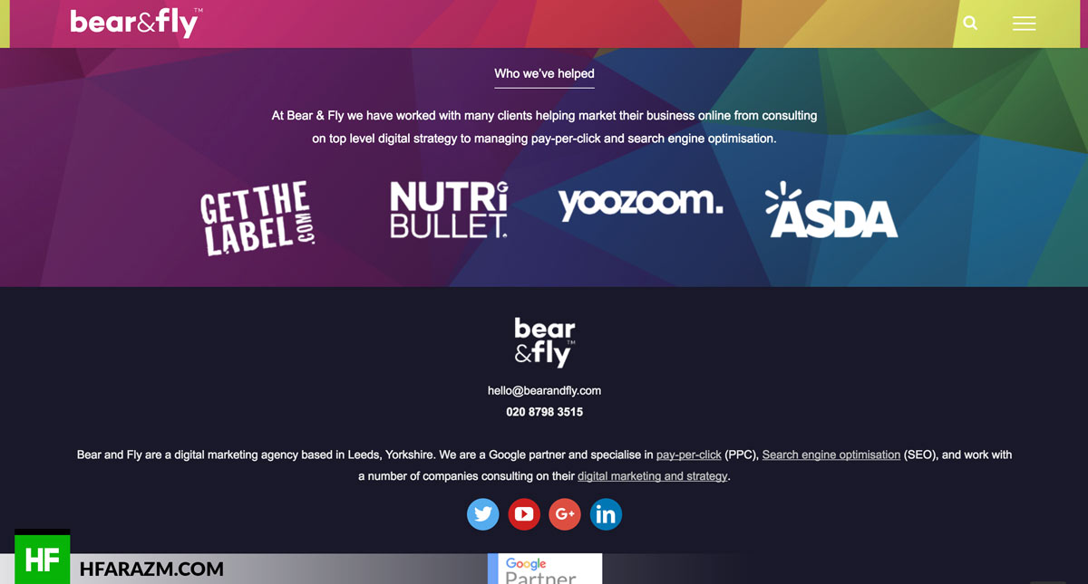 Footer Bear and Fly Web design Portfolio Hfarazm