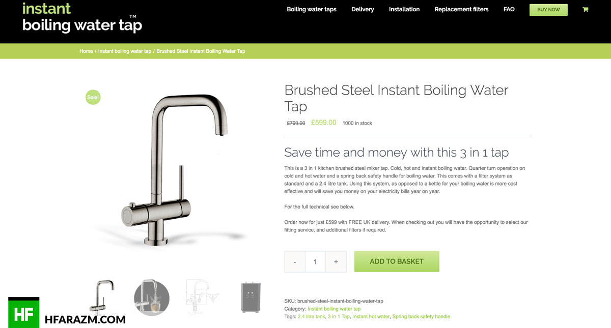 Instant boiling Single Product Page Web design Hfarazm