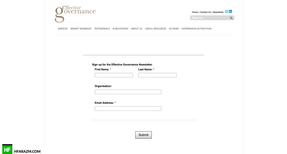 effective governance signup website review portfolio hfarazm