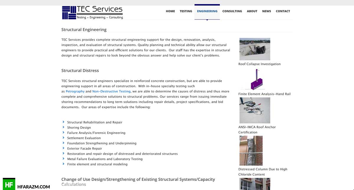 tec-services-engineering-page-web design-development-optimization-portfolio-hfarazm