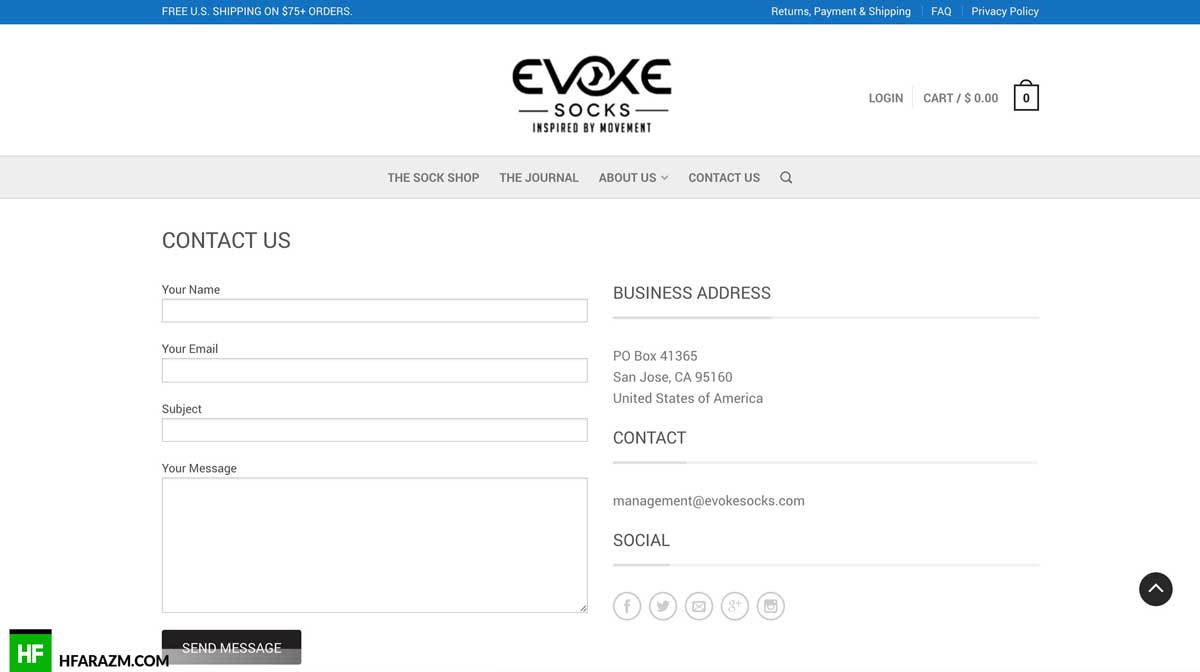 evoke-socks-contact-page-web-design-development-seo-optimization-security-portfolio-hfarazm