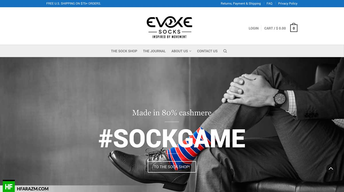 evoke-socks-home-page-web-design-development-seo-optimization-security-portfolio-hfarazm