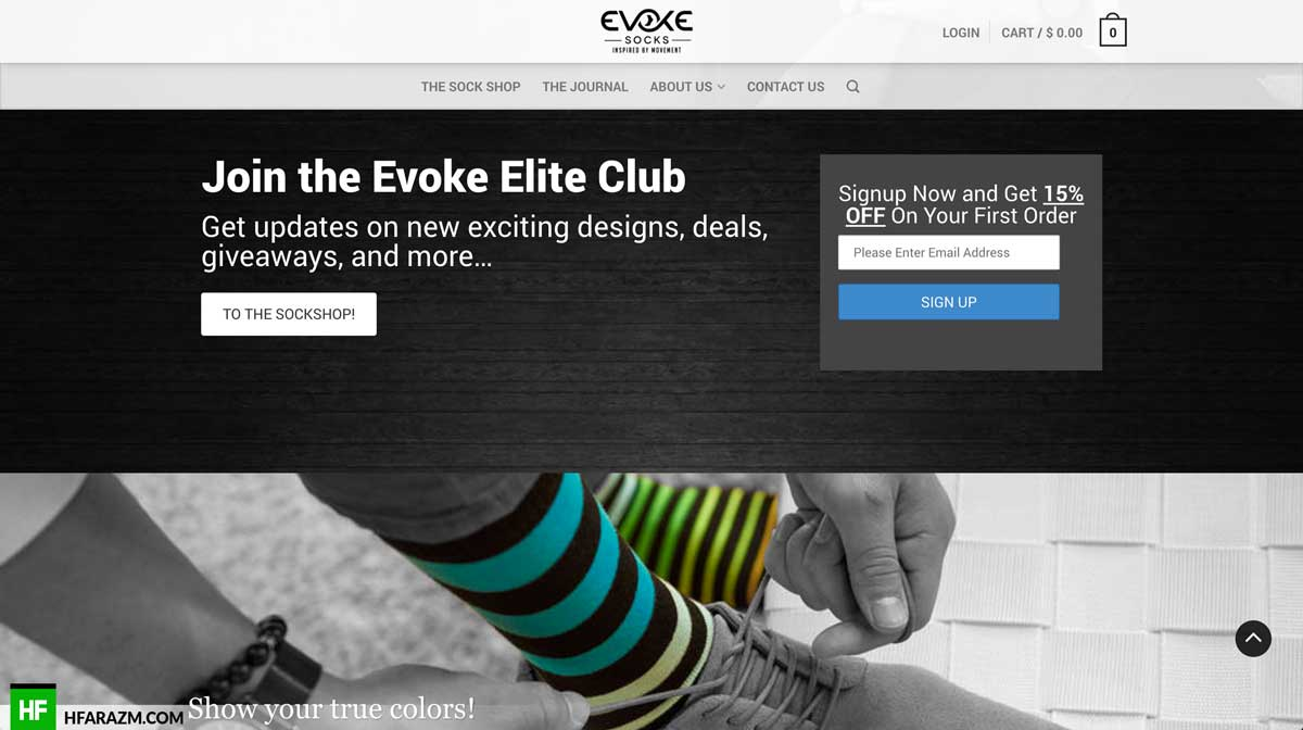 evoke-socks-signup-section-web-design-development-seo-optimization-security-portfolio-hfarazm