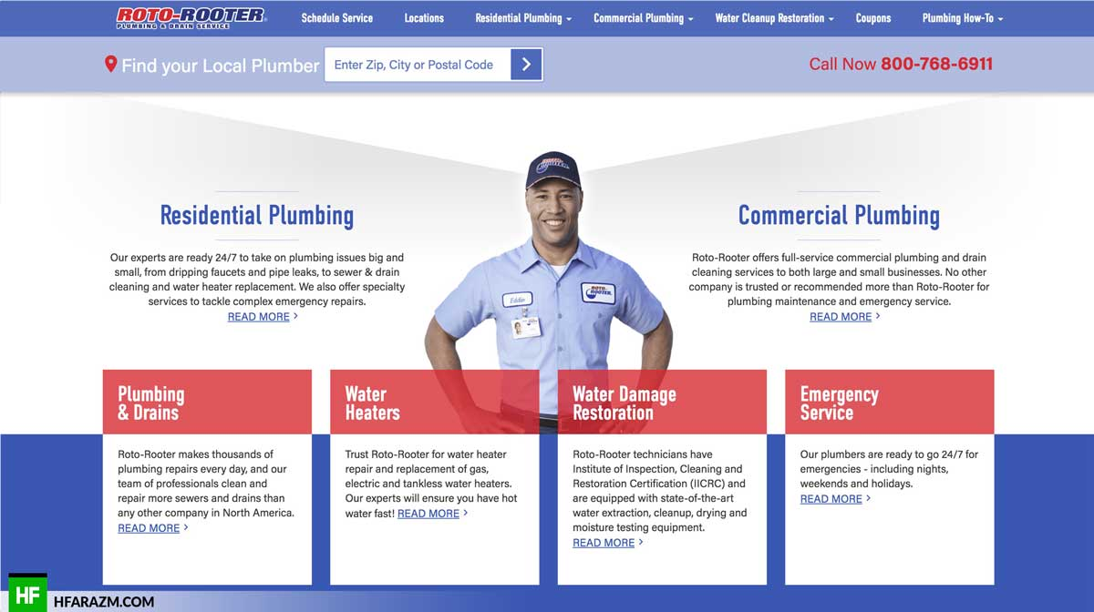roto-rooter-plumbing-services-section-web-design-development-optimization-security-seo-portfolio-hfarazm