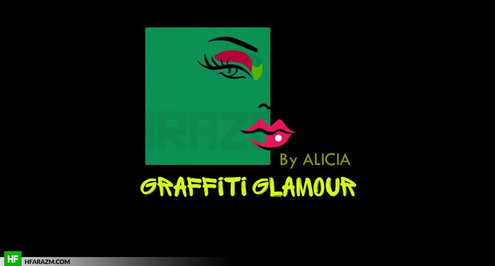 graffiti-glamour-makeup-artistry-hot-pink-lips-girly-logo-portfolio-design-agency-hfarazm-software