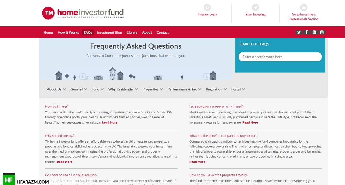 Home Investor Fund Home Page FAQ Web Design and Development by Hfarazm Software