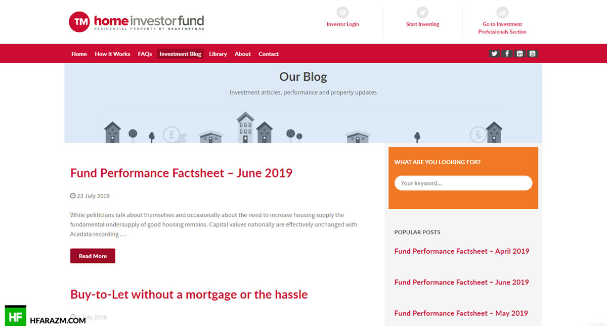 Home Investor Fund Home Page Investment Blog Web Design and Development by Hfarazm Software