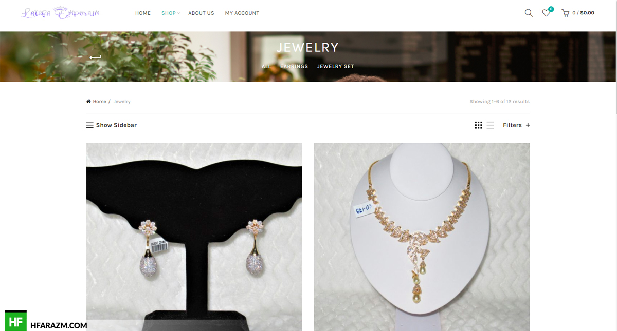 Latifa Emporium Home Page Shop Jewelry Web Design and Development by Hfarazm Software