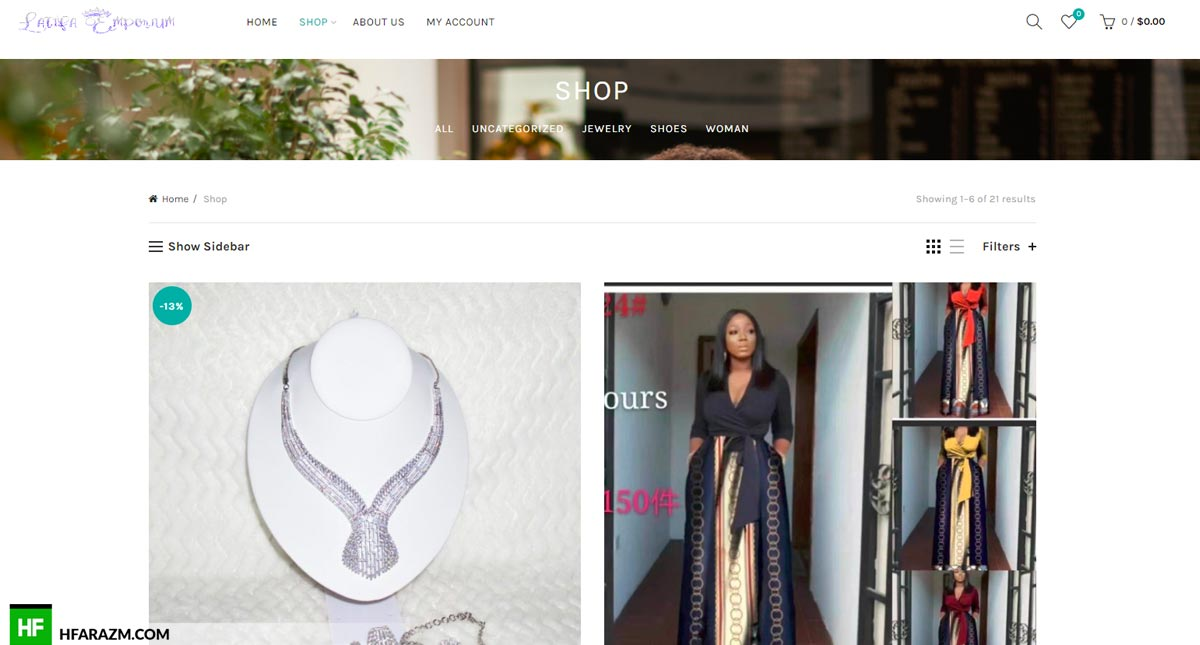 Latifa Emporium Home Page Shop Web Design and Development by Hfarazm Software