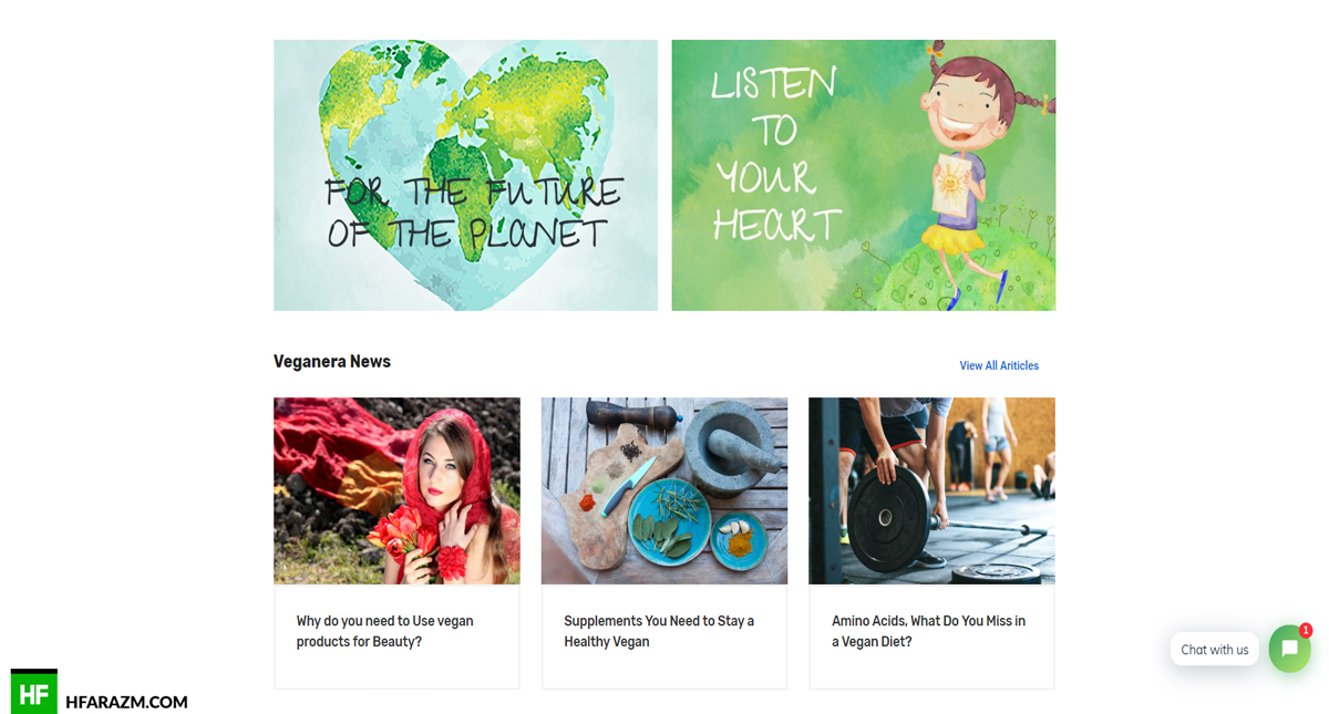Veganera News Page Web Design and Development by Hfarazm Software