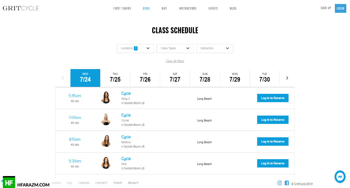 GritCycle Class Schedule Page Web Design and Development by Hfarazm Software