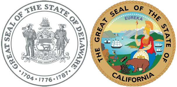 Delaware State Seal and California State Seal